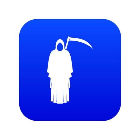 Death with scythe icon digital blue