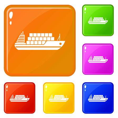 Cargo ship icons set collection vector 6 color isolated on white background