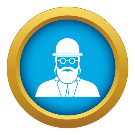 Orthodox jew icon blue vector isolated