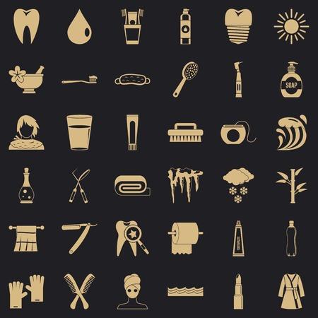 Set di icone del dente, stile semplice