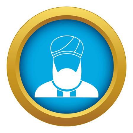 Muslim preacher icon blue vector isolated