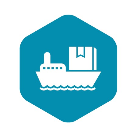 Sea delivery box icon. Simple illustration of sea delivery box vector icon for web design isolated on white background Illustration