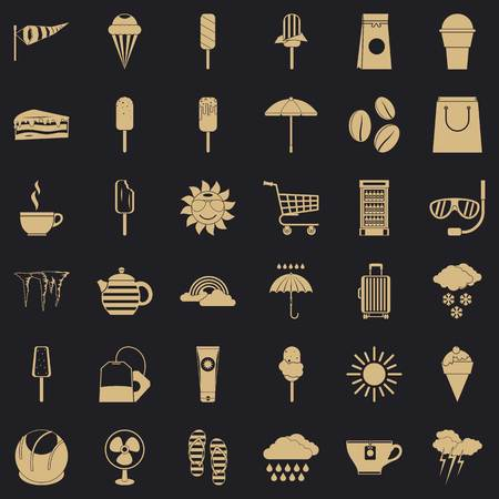 Teabag icons set, simple style