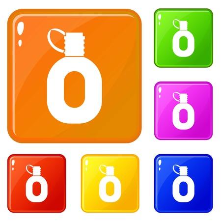 Tourist flask icons set vector color