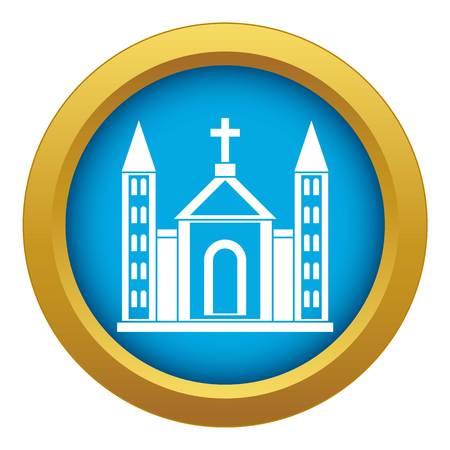 Christian catholic church building icon blue vector isolated