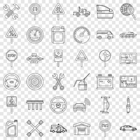 Bus icons set, outline style Ilustração