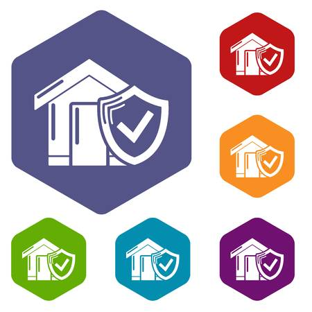 Insurance home icons vector colorful hexahedron set collection isolated on white