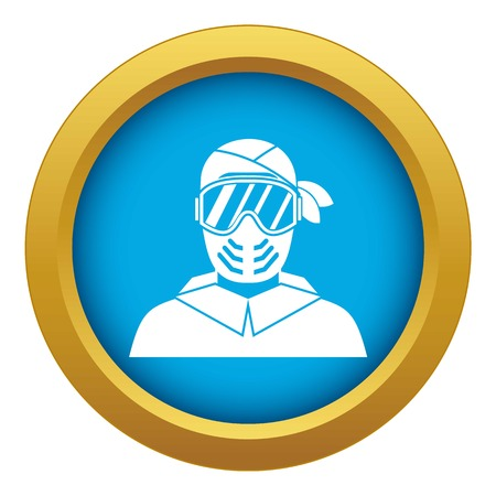 Paintball player wearing protective mask icon blue vector isolated on white background for any design Stock Illustratie