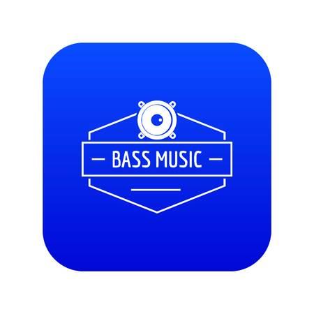Bass music icon blue vector
