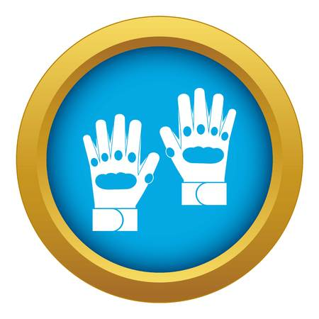 Pair of paintball gloves icon blue vector isolated on white background for any design