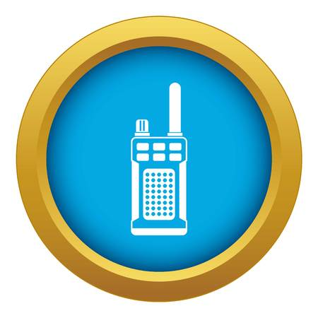 Portable handheld radio icon blue vector isolated on white background for any design