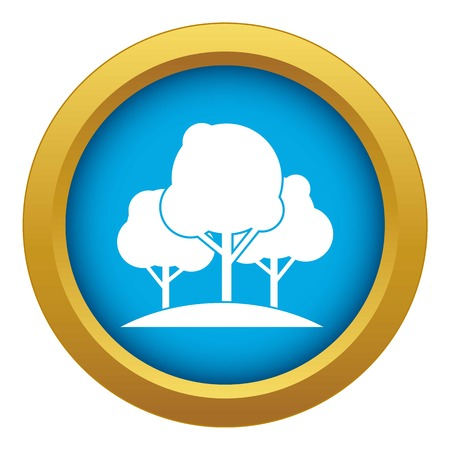 Forest trees icon blue vector isolated on white background for any design