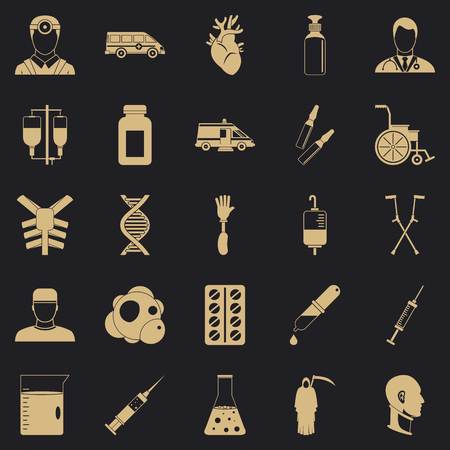 Ambulance icons set, simple style