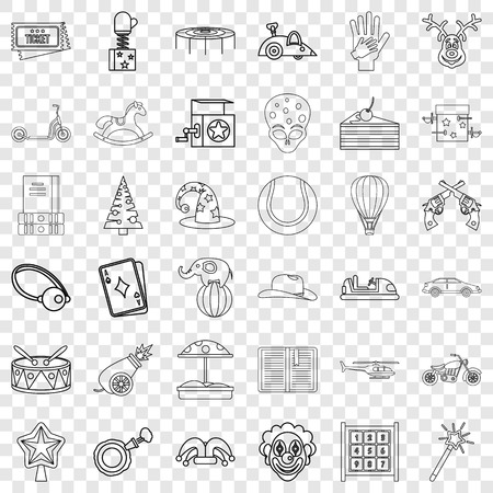 Tale icons set, outline style Stock Illustratie