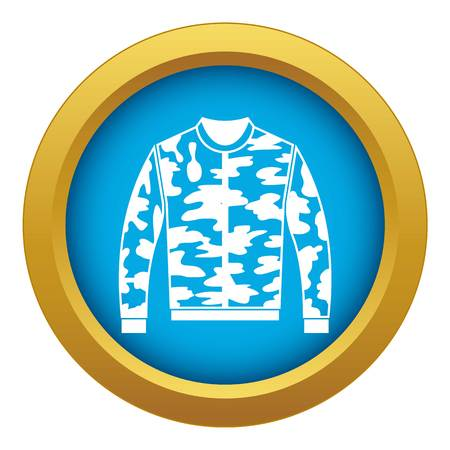 Camouflage jacket icon blue vector isolated on white background for any design