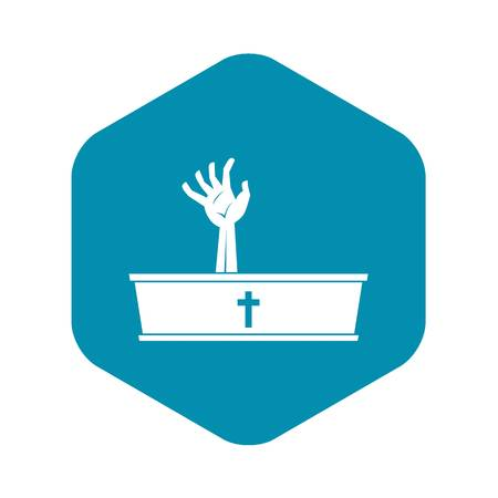 Zombie hand coming out of his coffin icon Illustration