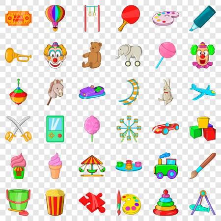 Darts icons set, cartoon style