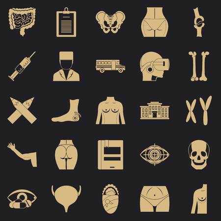 Dissection icons set. Simple set of 25 dissection vector icons for web for any design