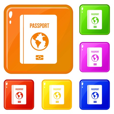 Passport icons set collection vector 6 color isolated on white background Ilustração