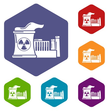 Atomic reactor icons vector hexahedron