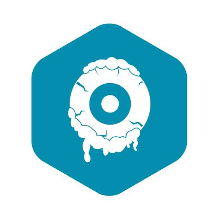 Scary eyeball icon, simple style