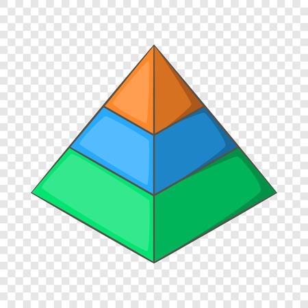 Layered pyramid icon, cartoon style Illustration