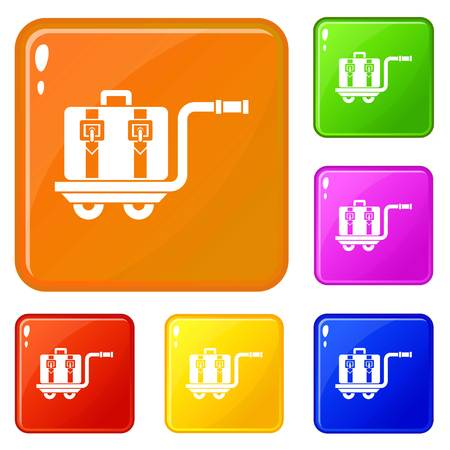 Baggage cart icons set collection vector 6 color isolated on white background