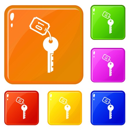 Hotel key icons set collection vector 6 color isolated on white background Vetores