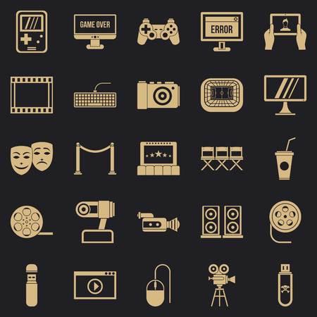 Jeu d'icônes de spectacle intéressant, style simple