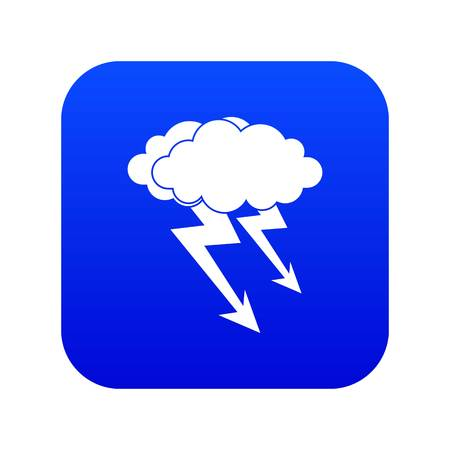 Lightning cloud icon digital blue for any design isolated on white vector illustration