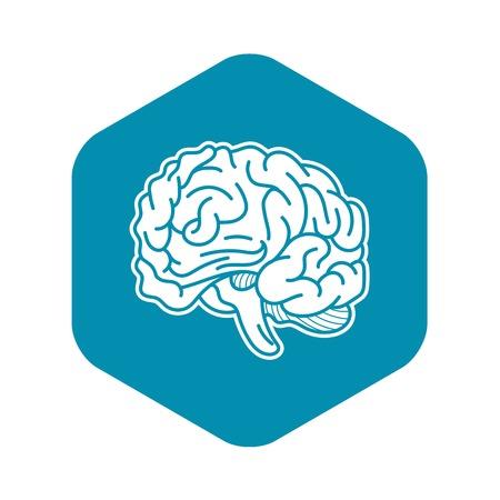 Genius brain icon, simple style Stock Vector - 123604834