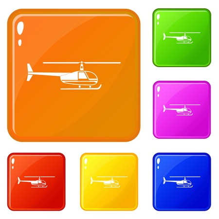 Helicopter icons set collection vector 6 color isolated on white background