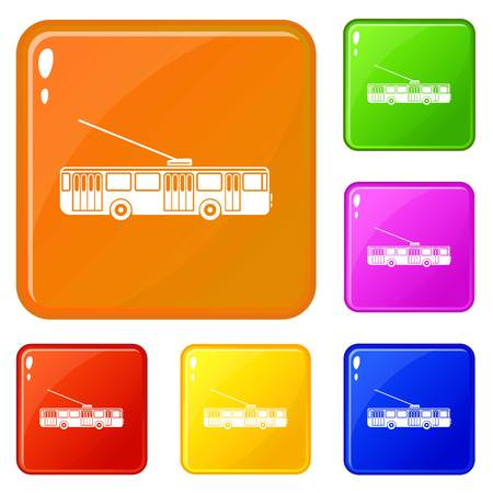 Trolleybus icons set collection vector 6 color isolated on white background Ilustração