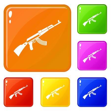 machine icons set vector color Illustration
