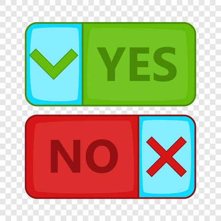 Yes and No button icon, cartoon style Illustration