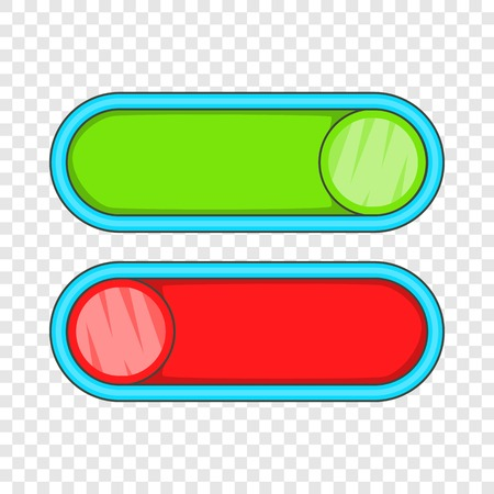 Green and red buttons icon. Cartoon illustration of green and red buttons vector icon for web Çizim