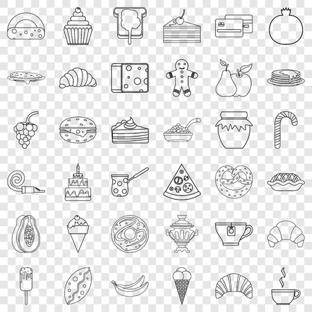 Pastry shop icons set, outline style