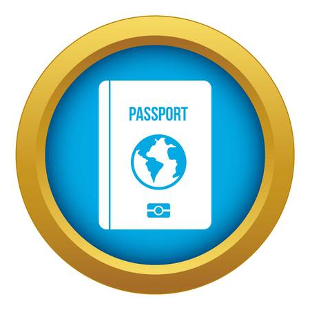 Passport icon blue vector isolated on white background for any design