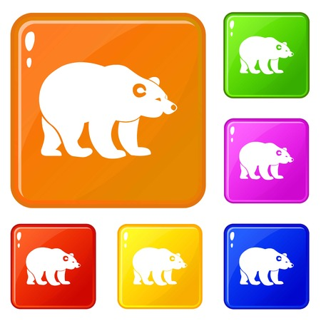Bear icons set collection vector 6 color isolated on white background