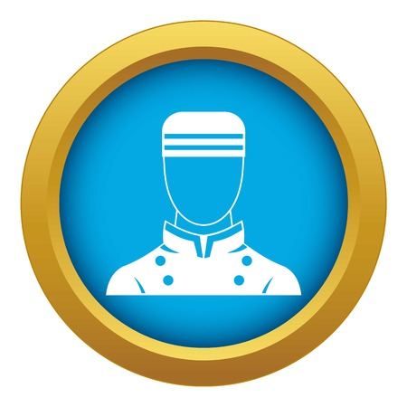 Doorman icon blue vector isolated on white background for any design