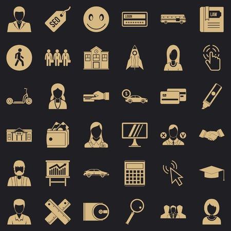 Conjunto de iconos de acción, estilo simple