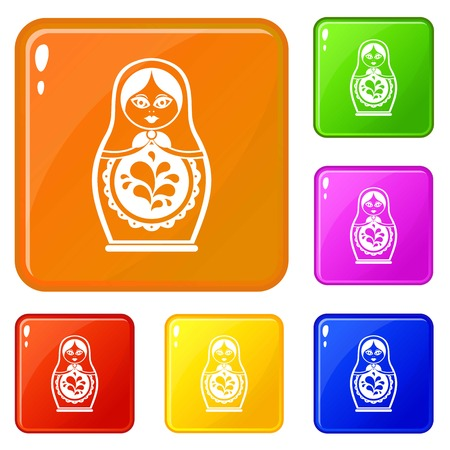 Matryoshka icons set collection vector 6 color isolated on white background Stock Illustratie