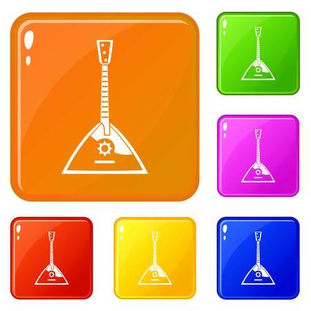 Balalaika icons set vector color
