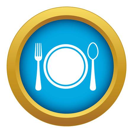 Place setting with plate,spoon and fork icon blue vector isolated on white background for any design