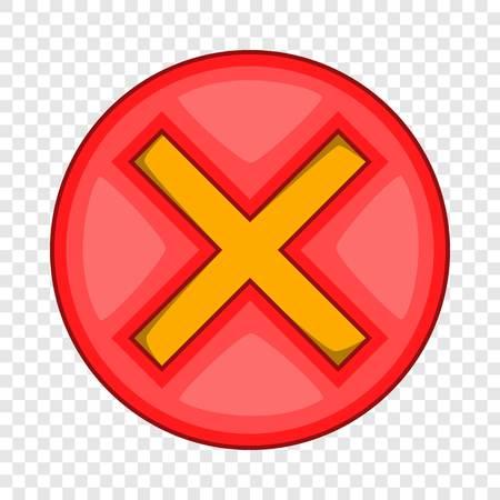 Red cross, check mark icon. Cartoon illustration of red cross, check mark vector icon for web