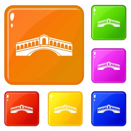 Venice bridge icons set collection vector 6 color isolated on white background