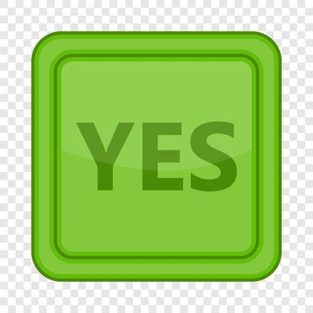 Yes green square button icon. Cartoon illustration of yes green square label vector icon for web Çizim
