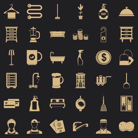 Inn icons set, simple style