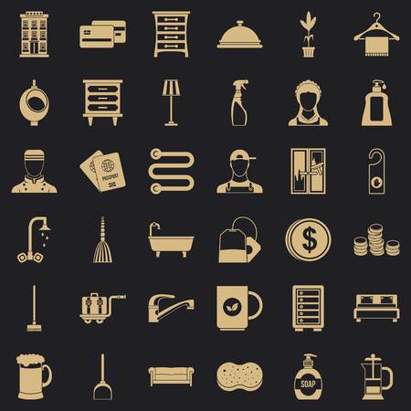 Inn service icons set, simple style