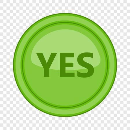 Yes green circle button icon. Cartoon illustration of yes green circle button vector icon for web